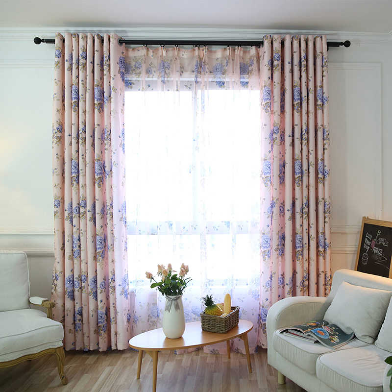 Pastoral Semi-Blackout Pink Flower Curtain Fabric For Living Room Blue Voile Sheer Curtains Drapes For Children Bedroom S175&30
