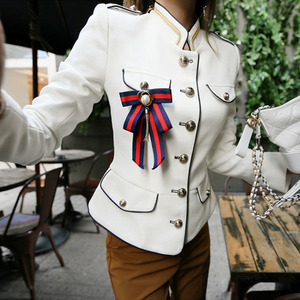 Image 4 - Женская куртка в винтажном стиле, элегантная однотонная куртка для отдыха, весна 2020