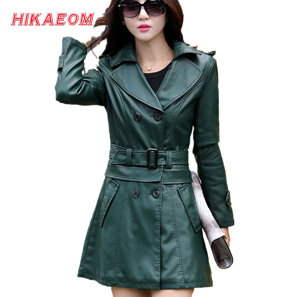 2 Uses For Short And Long Green   Leather   Coats Women Faux   Leather   Jacket Turn-Down Collar Jaqueta Couro Jaqueta De Couro Feminina