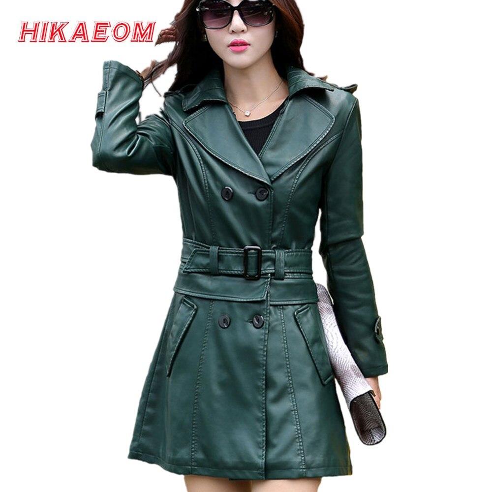 2 usos para casacos de couro curto e longo verde feminino casaco de couro falso gola virada para baixo