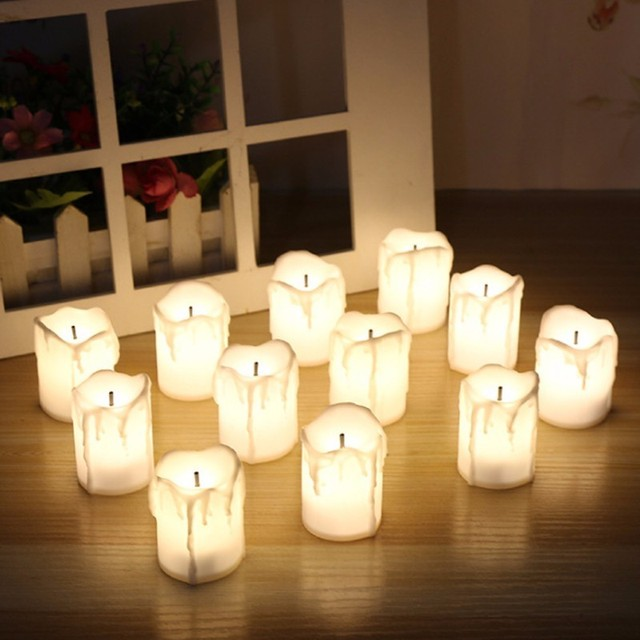 12pcsbox warm white flameless led tealight candles holidaywedding christmas party decoration - Christmas Decorations Battery Operated Candles
