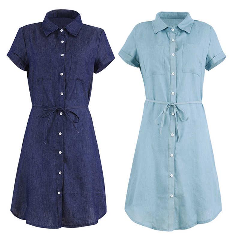 Модное женское джинсовое платье с отложным воротником, с коротким рукавом, на пуговицах, на талии, мини-платье, однотонное однобортное мини-платье