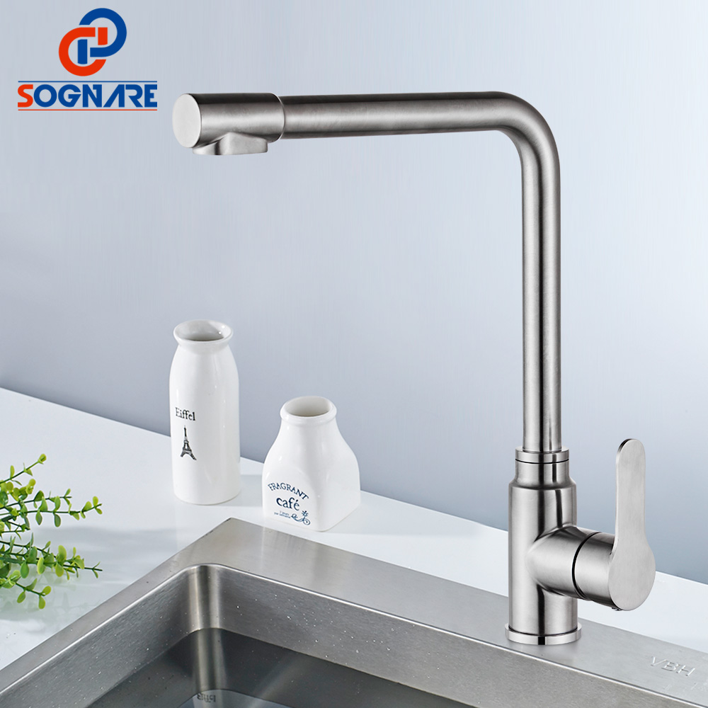 SOGNARE 304 Stainless Steel Kitchen Faucet 3 Way Drinking Water Tap Filter Faucets Kitchen Sink Mixer 360 Degree Rotation Crane цена 2017