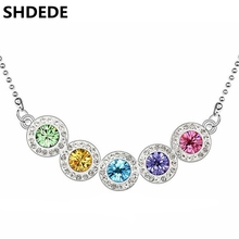 SHDEDE Hot New 2016 Fashion Necklace Pendants For Women Jewelry Crystal from Swarovski Elements White Gold Plated 10839