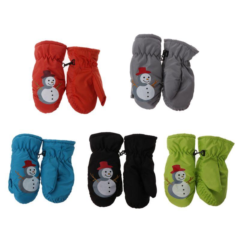 Children Winter Warm Ski Gloves Boys Girls Sports Waterproof Non-slip Snow Mittens Extended Wrist Skiing Gloves 2019