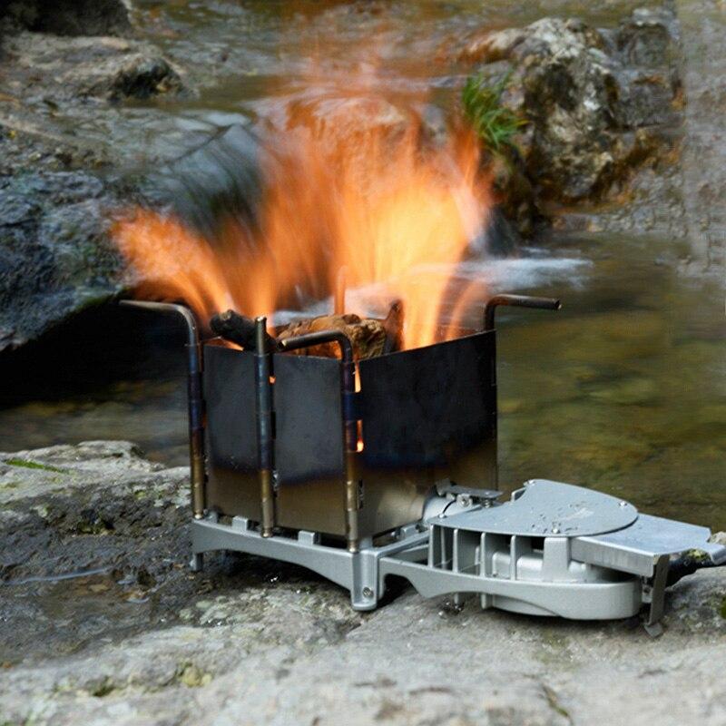 BRS 6000 w En Plein Air Poêle à Bois Portable Palme Taille Camping Brûleur De Charbon De Bois BARBECUE Four Électronique Ventilateur Poêle BRS-116
