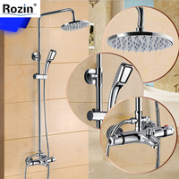 Luxury Temperature Control Thermostatic Shower Faucet Set Wall Mount 8 Rainfall Shower Set Mixer Tap