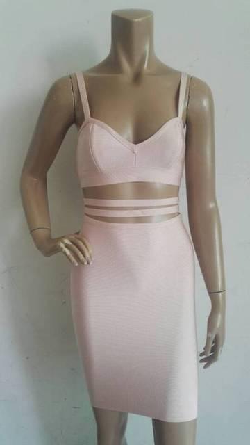 High Quality Nude Color Ladies Hl Bandage Dress Sexy Bodycon Mini Dress Club Night Dress