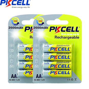 8Pcs/2Pack PKCELL 1.2v AA 2300mAh-2600mAh Ni-MH aa 2A Rechargeable Battery Batteries For Flashlight toys remote control new arrival 4pcs pkcell 1 2v aa ni mh 2600mah lsd rechargeable batteries bateria pre charged batteries set with 1200 cycle