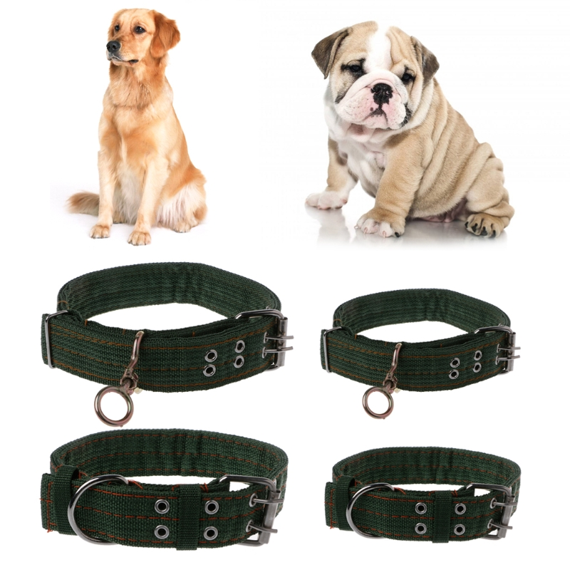 S/M Strong Canvas Nylon Dog Collar Army Green Double Row Adjustable Buckle Pet Collar For Medium Large Dog