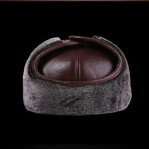 Image 4 - SILOQIN Genuine Leather Hat Middle Old Aged Winter First Layer Cowhide Thicken Baseball Cap Keep Warm Earmuffs Male Bone Dad Hat