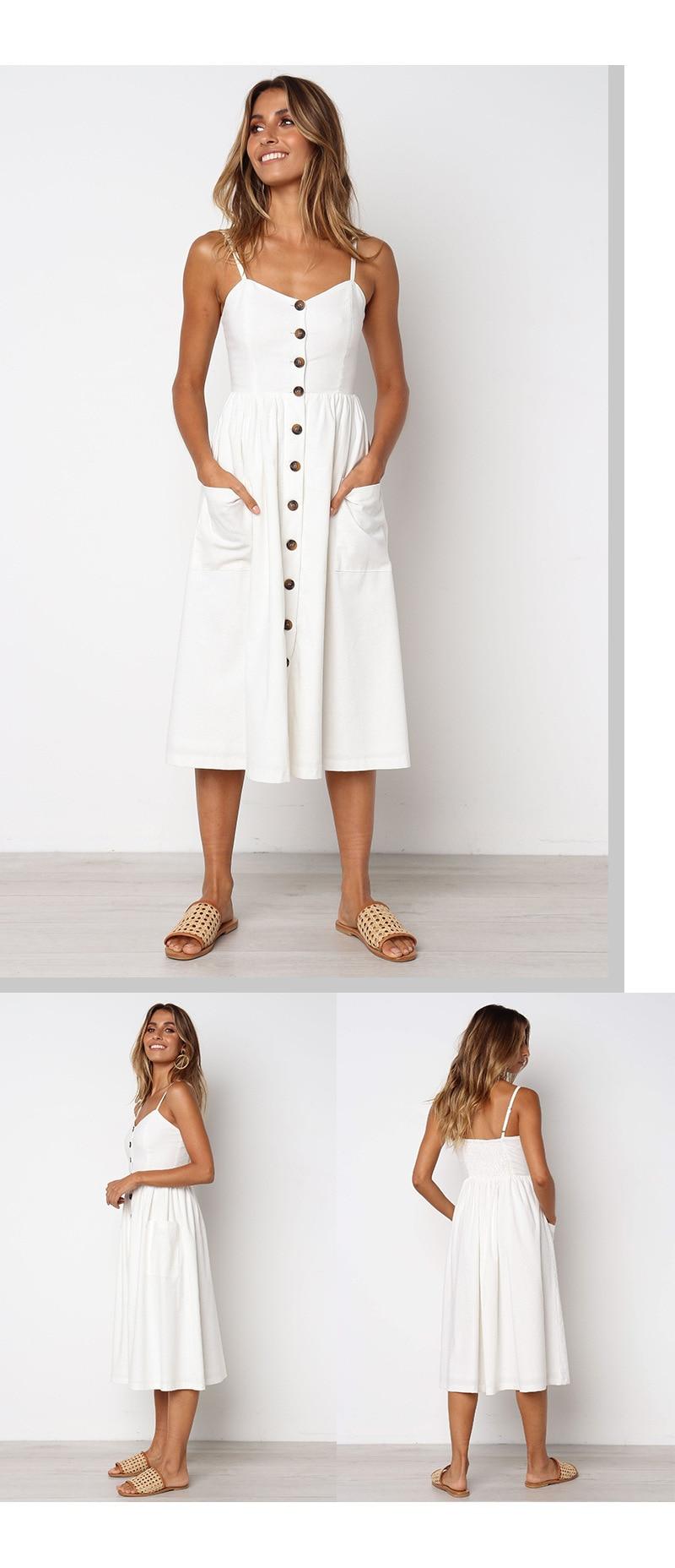 Button Striped Print Cotton Linen Casual Summer Dress 19 Sexy Spaghetti Strap V-neck Off Shoulder Women Midi Dress Vestidos 2