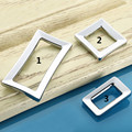 Silver Square Rectangle Metal Door Handles Cabinet Wardrobe Cupboard Drawer Pull Knobs  Accessories 3Sizes