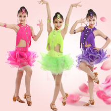 New Children's Latin Dance Tassel Dress Stage Wear Girls Latin Ballroom Dance Costume Junior Tango/Salsa Dress