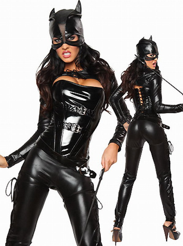 Sexy Leather Cat Costume Women Dangerous Faux Leather Catsuit Teddy Clubwear Wet Look Catwomen Jumpsuit