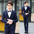 Blazer Stripes Jacket Mens Wedding Suit Korean Style Dress Tuxedo Blazer Designs Royal Blue Pants Costume Pantalon Homme XY13