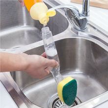 Sponge Replaceable Couring Pad Washing Convenience Cleaning Brush Scrubber Kitchen Soap Dispenser Dish With Refill Liquid