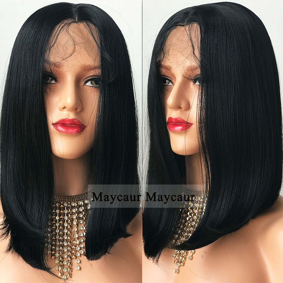 Black Color Lace Front Wigs Long Bob Hair Wig with Baby Hair Natural Straight Synthetic Lace Front Wigs for Women