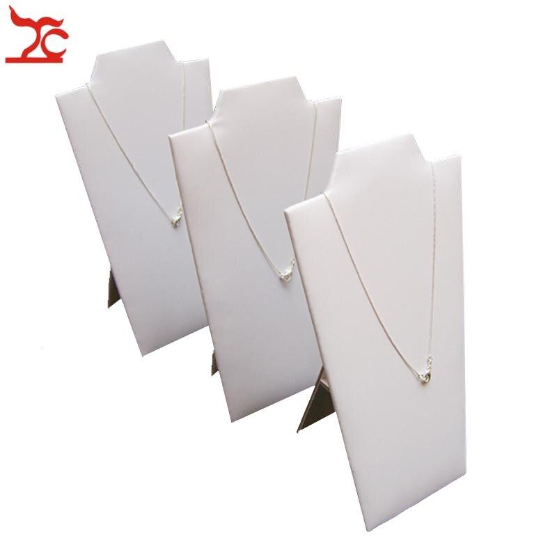 7b934ccae Branco Colar de Pingente de Exibição Cavalete 3 pçs lote Titular Jóias  Mostrando Stand Prateleira Dobrável 12.3 22.5 cm