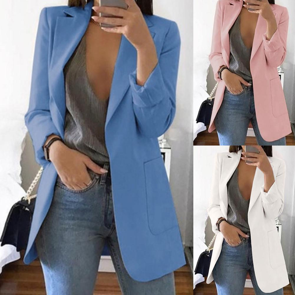 Plaid Blazer Outerwear Coat Houndstooth Suit Jacket Women Long-Sleeve Office Solid-Color