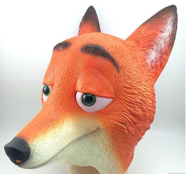 새 도착 영화 Zootopia Cartoon 미친 동물 가면 무서운 마스크 Judy Funny Nick Fox 라텍스 헤드 기어 마스크