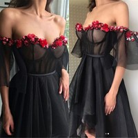 Black Short Prom Dresses With Red Flowers Boat Neck Short Sleeves Corset Sexy Evening Gowns 2018 Custom Made Summer Party Dress