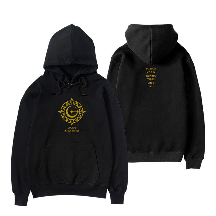 Kpop gfriend new album time for us all member name printing pullover loose hoodies unisex 4 colors fleece/thin sweatshirt image