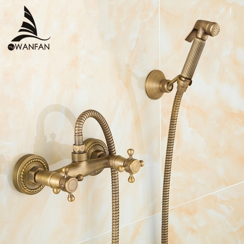 Bidet Faucet Antique Solid Brass Tube Cold and Hot Water Shower Mixer with Bidet Shower Head Double Handle Tap Crane 9271F коврик в багажник geely emgrand ec7 rv 2011