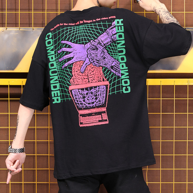 e6921406020 National tide hip hop dance performance T-shirt boys and girls creative  printing couple 2 hand hiphop
