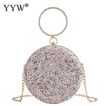 YYW Clutch Pink Gillter Handbag Wedding Evening Women Round Bag Circular Ring Purses Handbags Crossbody Party Metal Bags