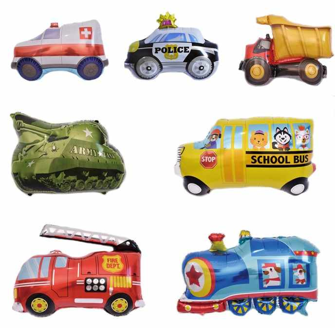 Mainan Besar Mobil Foil Ballon Anak-anak Bayi Shower Anak Tangki Pesawat Ambulans Bus Truk Pemadam Kebakaran Dekorasi Pesta Ulang Tahun Mobil Kereta balon