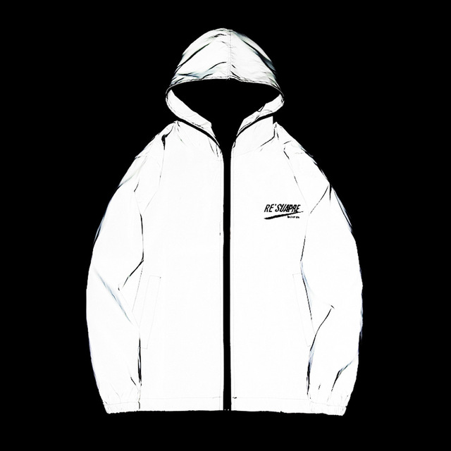 Long Sleeved Reflective jacket men women harajuku windbreaker jackets hooded hip-hop streetwear night shiny zipper coats g3