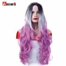 AOSIWIG Synthetic Wig Wavy Long Pink Ombre Cosplay Wigs for Black Women Heat Resistant Hair Halloween Party(China)