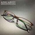 Homens óculos de armação de moda óculos de aro cheio de prescrição óptica quadrado titanium marca desinger negócios luz bonito novo