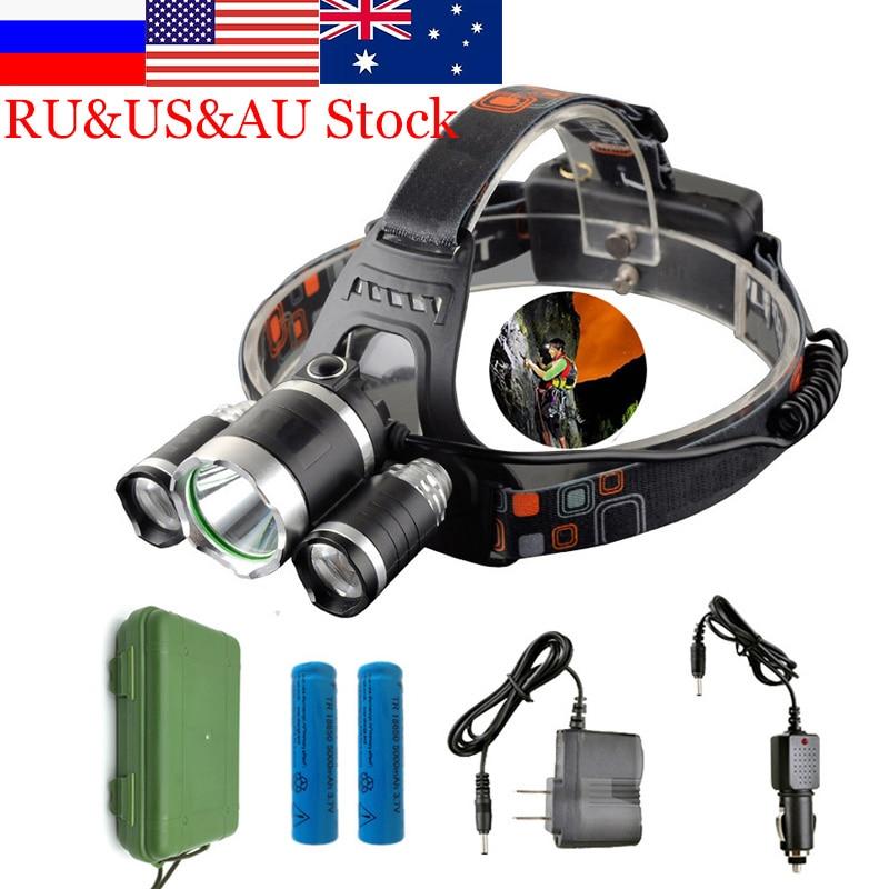 13000LM LED Head Latarka Reflektor Reflektor Głowy Światła Latarka Czołówka Polowanie Głowy Połowów Górnictwo światła Lanterna