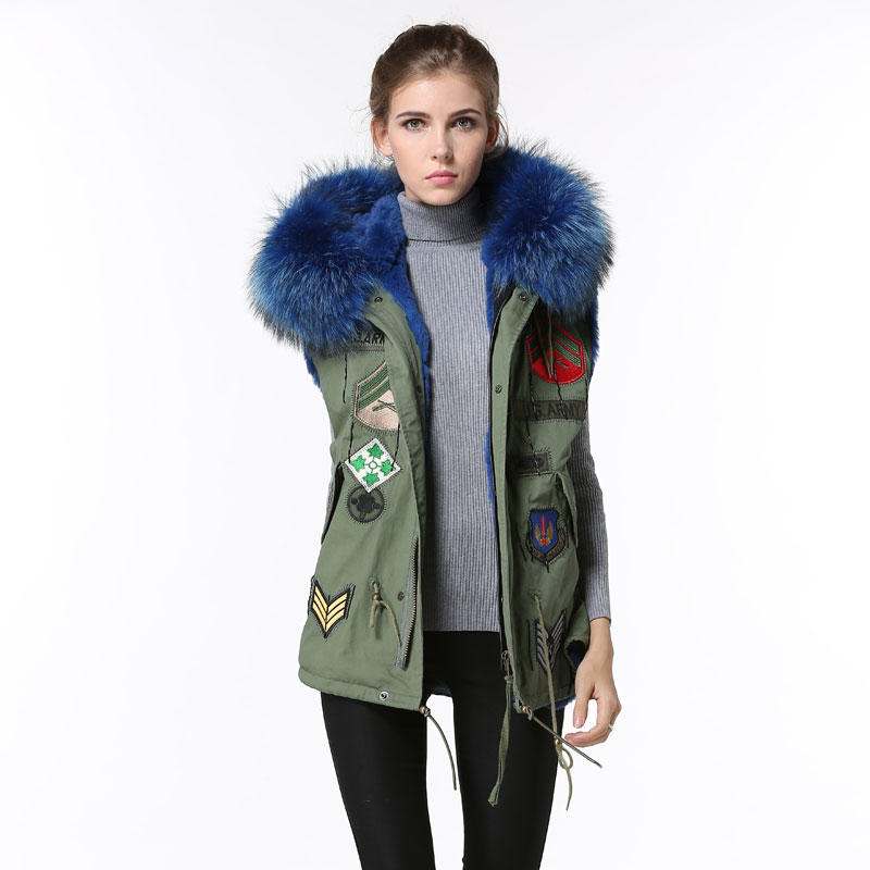 Simple design Blue Faux fur Vest jacket Badge Women Vest