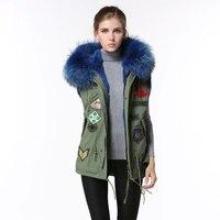 Simple design Blue Faux fur Vest jacket Badge Women Vest
