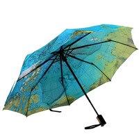 Cenário da casa Totalmente-Outono E Inverno De Viagem Dobrável Tempo Mapa Guarda-chuva automático Sol Ultra-leve Guarda-chuva