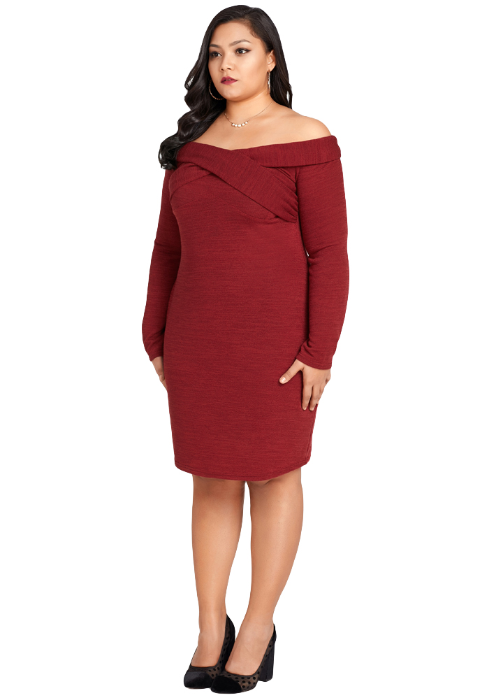 Sexy 3XL 4XL 5XL Plus Size Dress Female Off The Shoulder Knitted ... 30b2a21a40e5