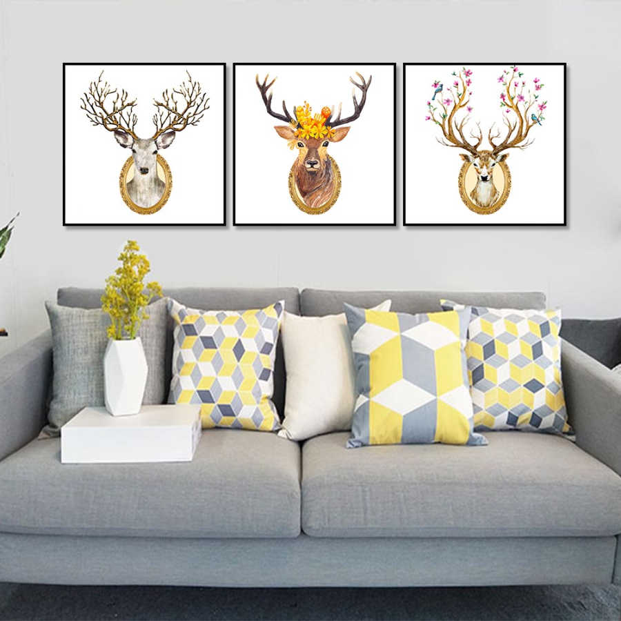 Nordic Poster Canvas Painting Elk  Abstract Art A4 Poster Wall Art Canvas Wall Picture For Home Decor Wall Art 3 Types