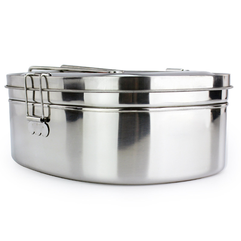 High capacity Silver Simple Square Stainless Steel Food Container Bento Lunch Box 2 layer