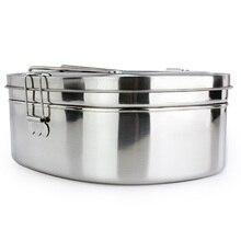 Hohe kapazität Silber Einfachen Quadratischen Edelstahl Nahrungsmittelbehälter Bento Lunchbox 2 schicht