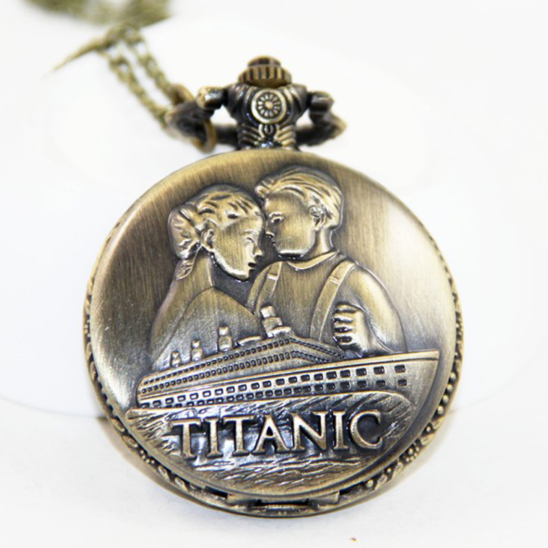 Vintage Bronze Titanic Quartz Pocket Watch Classic Men Women Love Couple Necklace Pendant Watch Gifts
