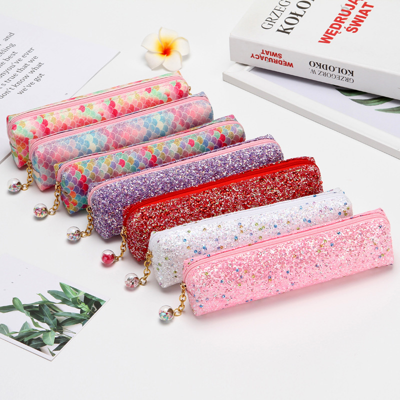 2019 New Pencil Case Creative Laser Sequin Pencil Case Student Supplies Pencil Colorful Stationery Bag Small Object Storage Bag