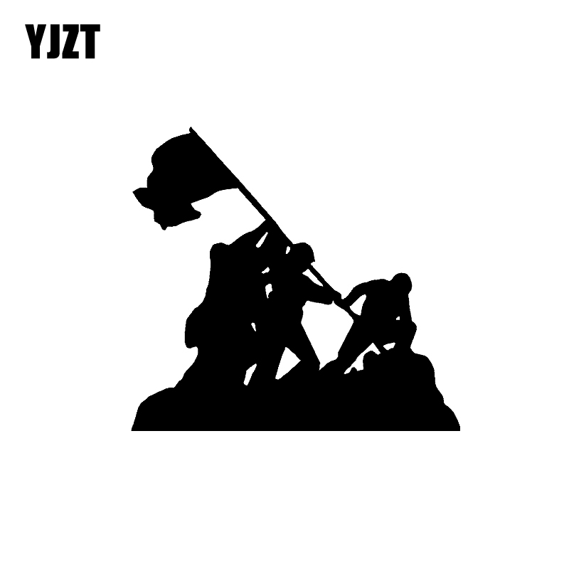 YJZT 15.5CM*14.3CM Cartoon Iwo Jima Flag America Soldier Hero Vinyl Car Sticker Decal Black/Silver C11-1301