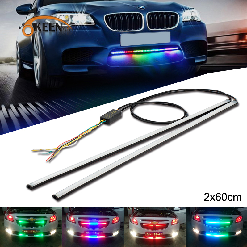 OKEEN 2X Car Flexible Switchback LED Knight Rider Strip Light for Headlight Front Grille DRL Flowing Amber Turn Signal Lights photo