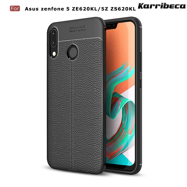 newest collection 5078f 345cd US $3.78 12% OFF Litchi silicone case carcasa for Asus Zenfone 5 ze620kl  funda hoesje lychee leather tpu cover 5z zs620kl coque etui kryt tok-in ...