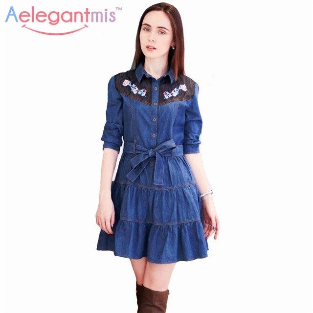 Специальное Предложение Aelegantmis Мода Длинным Рукавом Цветы Вышивка Denim Dress Женщины отложным Воротником Рубашки Dress Весна Осень
