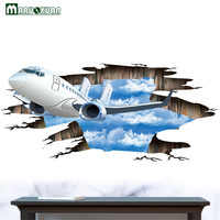 Maruoxuan 3D Sky Airplane Wall Stickers Removable Vinyl Mural Wall Decor For Living Room Floor Background Decoration Wallpaper