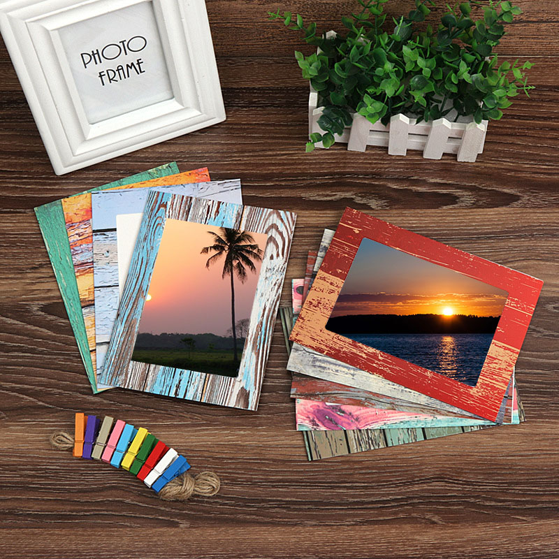 Image 2 - Photo Frame Wall Creative Wood Grain Paper Hanging Album Combination DIY Art Ornament Living Room Decoration Porta Retrato-in Frame from Home & Garden